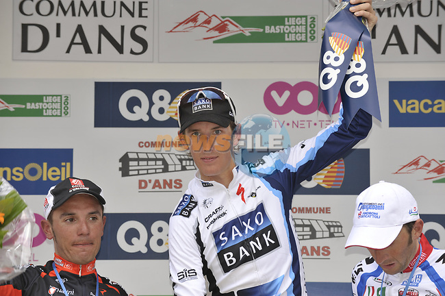 Winner Andy Schleck (LUX) Saxo Bank flanked By 2nd place rider Joaquim Rodriguez (ESP) Caisse D'Epargne and 3rd place Davide Rebellin (ITA) Serramenti-Diquigiovanni on the podium at the end of the 95th running of Liege-Bastogne-Liege cycle race, running 261km from Liege to Ans, Belgium. 26th April 2009 (Photo by Eoin Clarke/NEWSFILE)