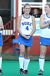 16 October 2015: Duke's Ashley Kristen (CAN). The University of North Carolina Tar Heels hosted the Duke University Blue Devils at Francis E. Henry Stadium in Chapel Hill, North Carolina in a 2015 NCAA Division I Field Hockey match. UNC won the game 2-1.