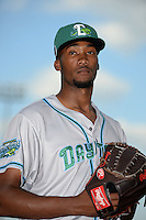 Daytona Tortugas pitcher Amir Garrett (23) poses for a photo before a game against the Tampa Yankees on April 24, 2015 at George M. Steinbrenner Field in Tampa, Florida.  Tampa defeated Daytona 12-7.  (Mike Janes/Four Seam Images)