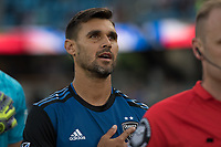 San Jose, CA - Tuesday June 11, 2019: Chris Wondolowski #8 during the National Anthem before the US Open Cup match between the San Jose Earthquakes and Sacramento Republic FC at Avaya Stadium.