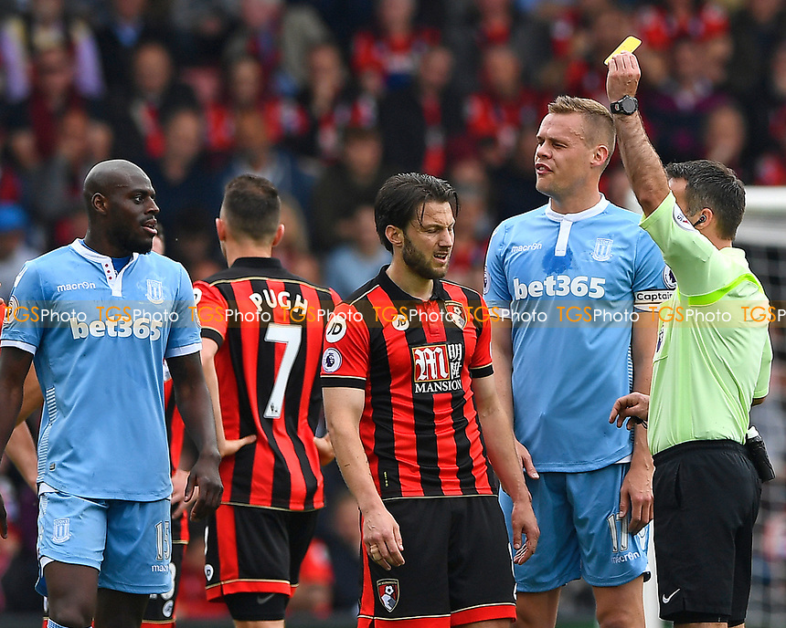Harry Arter of AFC Bournemouth gets a yellow card from Referee Paul Tierney during AFC Bournemouth vs Stoke City, Premier League Football at the Vitality Stadium on 6th May 2017