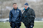 St Johnstone Training&hellip;22.01.19   McDiarmid Park<br />Jason Kerr and manager Tommy Wright pictured during a snowy training session this morning ahead of tomorrw night&rsquo;s game against Livingston.<br />Picture by Graeme Hart.<br />Copyright Perthshire Picture Agency<br />Tel: 01738 623350  Mobile: 07990 594431