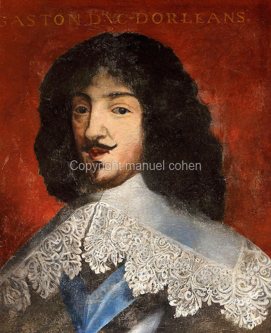 Portrait of Gaston, Duke of Orleans, 1608-60, in the Galerie des Illustres or Gallery of Portraits, early 17th century, in the Chateau de Beauregard, a Renaissance chateau in the Loire Valley, built c. 1545 under Jean du Thiers and further developed after 1617 by Paul Ardier, Comptroller of Wars and Treasurer, in Cellettes, Loir-et-Cher, Centre, France. The Gallery of Portraits is a 26m long room with lapis lazuli ceiling, Delftware tiled floor and decorated with 327 portraits of important European figures living 1328-1643, in the times of Henri III, Henri IV and Louis XIII. The chateau is listed as a historic monument. Picture by Manuel Cohen
