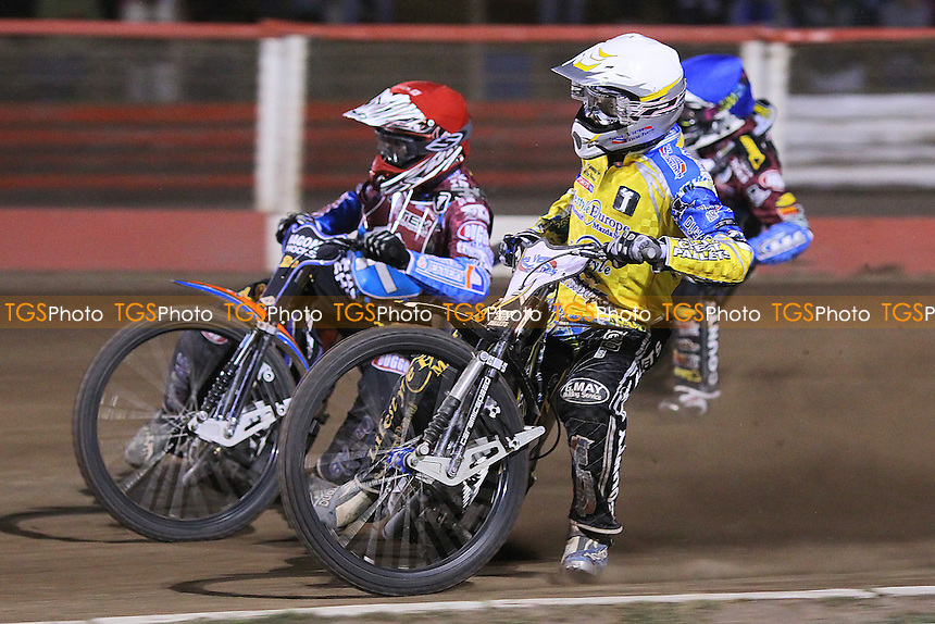 Heat 13: Karlsson (red), Watt (blue) and Pedersen (white) - Lakeside Hammers vs Eastbourne Eagles - Sky Sports Elite League Speedway at Arena Essex Raceway, Purfleet - 09/08/13 - MANDATORY CREDIT: Gavin Ellis/TGSPHOTO - Self billing applies where appropriate - 0845 094 6026 - contact@tgsphoto.co.uk - NO UNPAID USE