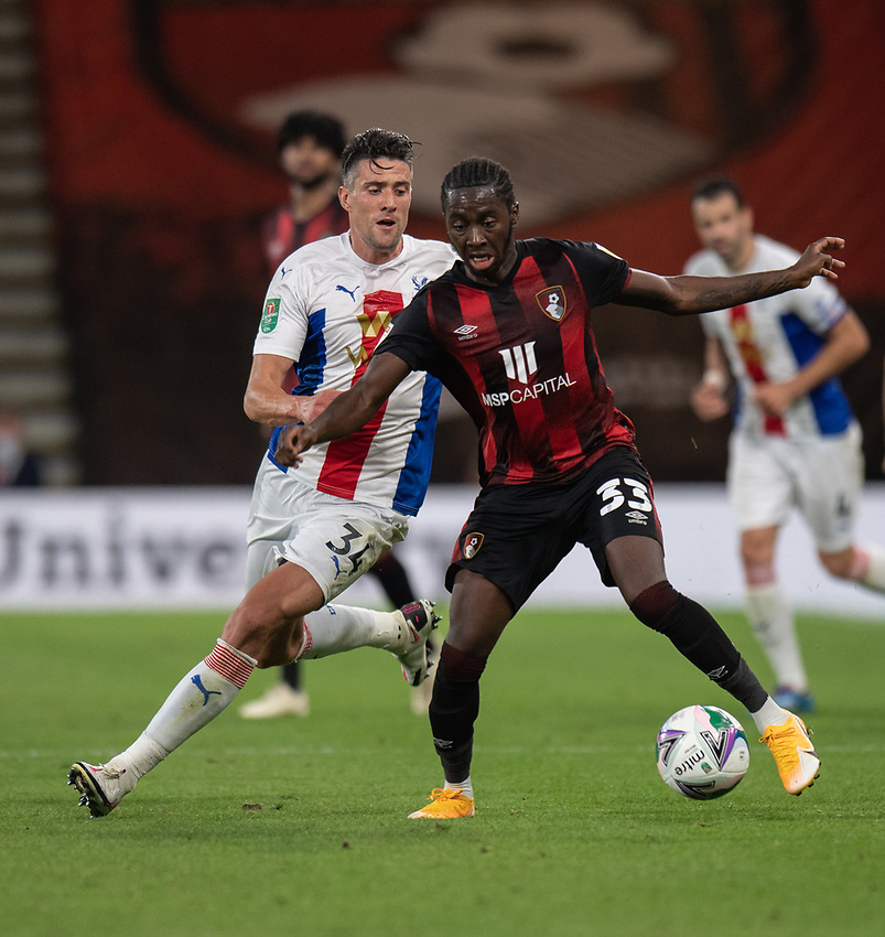 Bournemouth's Jordon Zemura (right) under pressure from Crystal Palace's Martin Kelly (left) <br /> <br /> Photographer David Horton/CameraSport<br /> <br /> Carabao Cup Second Round Southern Section - Bournemouth v Crystal Palace - Tuesday 15th September 2020 - Vitality Stadium - Bournemouth<br />  <br /> World Copyright © 2020 CameraSport. All rights reserved. 43 Linden Ave. Countesthorpe. Leicester. England. LE8 5PG - Tel: +44 (0) 116 277 4147 - admin@camerasport.com - www.camerasport.com
