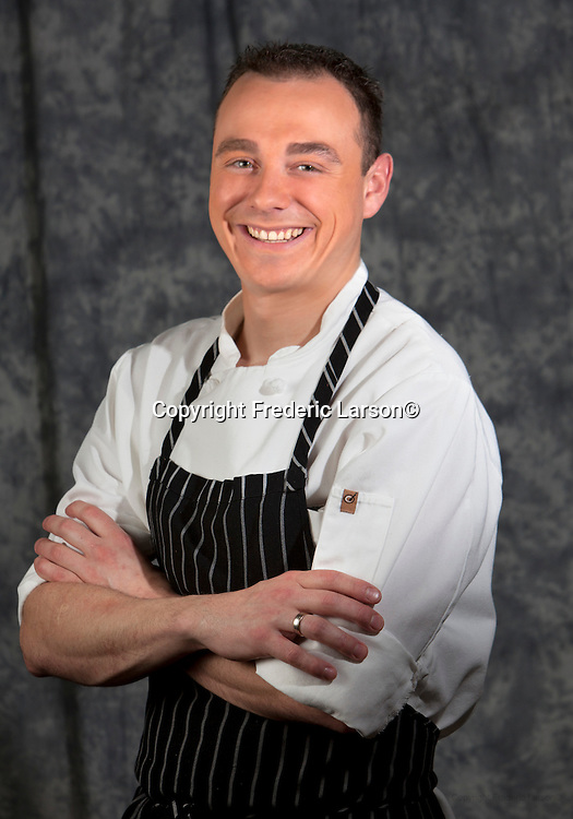 Michael P. Mollinger head chef of the Dish restaurant in Mill Valley poses for a portrait for photographer Frederic Larson in Mill Valley, CA...Fashion producer Claudia Knaack..Make-up artist Christina Flach.