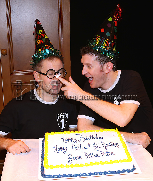 "Jefferson Turner and Daniel Clarkson from ""Potted Potter"" backstage celebrating ""Harry Potter"" And J.K. Rowling's Birthday at Little Shubert Theatre on July 30, 2013 in New York City."