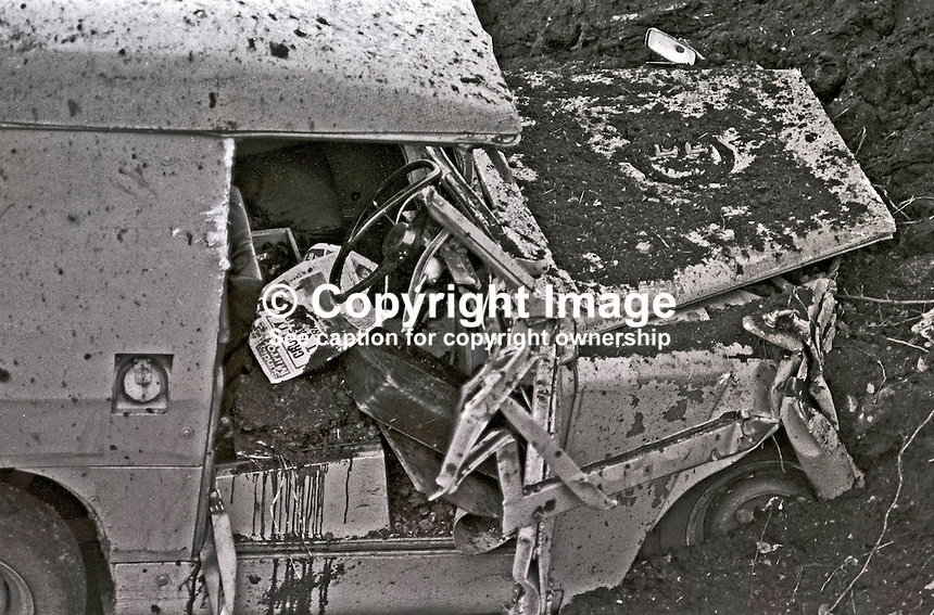 IRA landmine explosion at Cappagh, near Pomeroy, Co Tyrone, in which Reserve Policeman, Henry Sandford, from nearby Cookstown, died. A colleague was seriously injured in the incident which left their landrover in a crater 35 ft wide and 10 ft deep. 197301140028b.<br /> <br /> Copyright Image from Victor Patterson, 54 Dorchester Park, Belfast, UK, BT9 6RJ<br /> <br /> t: +44 28 90661296<br /> m: +44 7802 353836<br /> vm: +44 20 88167153<br /> e1: victorpatterson@me.com<br /> e2: victorpatterson@gmail.com<br /> <br /> For my Terms and Conditions of Use go to www.victorpatterson.com