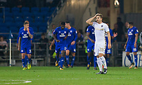 Gaetano Berardi of Leeds United looks dejected after his side concede their second goal during the Sky Bet Championship match between Cardiff City and Leeds United at the Cardiff City Stadium, Cardiff, Wales on 26 September 2017. Photo by Mark  Hawkins / PRiME Media Images.