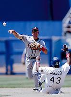 Mark Lemke of the Atlanta Braves at Dodger Stadium in Los Angeles,California during the 1996 season. (Larry Goren/Four Seam Images)