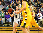 SIOUX FALLS, SD, FEBRUARY 10:  Madi Robson #110 from the University of Sioux Falls lays the ball up against Augustana Friday night at the Stewart Center in Sioux Falls. (Photo by Dave Eggen/Inertia)
