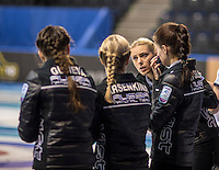 Glasgow. SCOTLAND.  Women's Semi Final&quot; Scotland vs Russia.    Russian,  &quot;Skip&quot; Victoria MOISEEVA, talks to team at the introduction of the teams to the audience at the Le Gruy&egrave;re European Curling Championships. 2016 Venue, Braehead  Scotland.<br /> <br /> Friday  25/11/2016<br /> <br /> [Mandatory Credit; Peter Spurrier/Intersport-images]