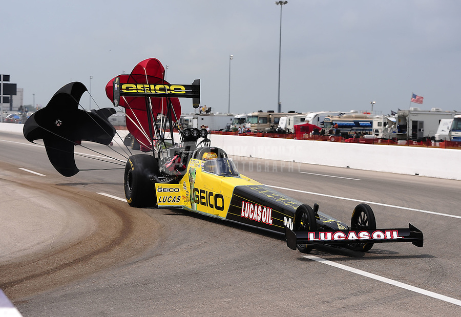 May 1, 2011; Baytown, TX, USA: NHRA top fuel dragster driver Morgan Lucas during the Spring Nationals at Royal Purple Raceway. Mandatory Credit: Mark J. Rebilas-