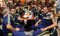 Wednesday 18 September 2013<br /> Pictured L-R: All the Spanish players having coffee at Cardiff Airport, Alvaro Vazquez, Jordi Amat, Alejandro Pozuelo, Michu, Pablo Hernandez, Chico Flores, Jose Canas and Angel Rangel.<br /> Re: Swansea City FC players and staff travelling to Spain for their UEFA Europa League game against Valencia.