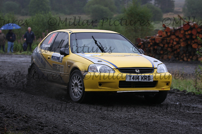 Graeme Schoneville / Michael Hendry at Junction 9 on Craignell, Special Stage 1 of the Ian Broll Merrick Stages Rally 2012, Round 7 of the RAC MSA Scotish Rally Championship which was organised by Machars Car Club and Scottish Sporting Car Club and based in Wigtown on 1.9.12.