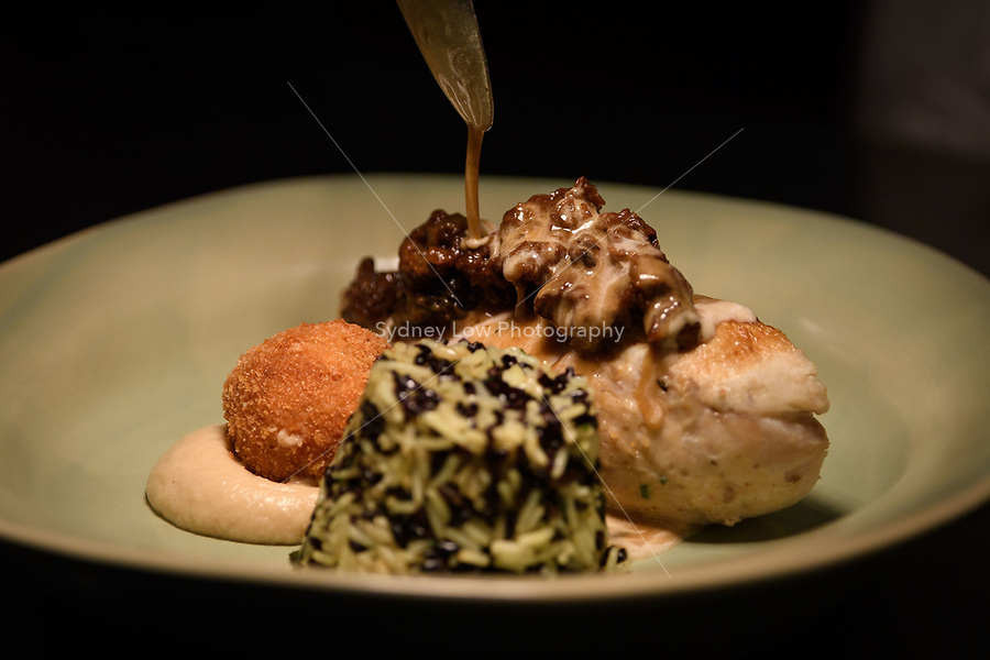 "Melbourne, July 13, 2018 - The dish ""Chichen Suprëme, celeriac purée, Pojarsky, morel mushrooms, jus crémé"" at the Pommery Champagne Dinner at Philippe Restaurant in Melbourne, Australia. Photo Sydney Low"