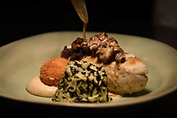 "Melbourne, July 13, 2018 - The dish ""Chicken Supreme, celeriac purée, Pojarsky, morel mushrooms, jus crème"" at the Pommery Champagne Dinner at Philippe Restaurant in Melbourne, Australia. Photo Sydney Low"