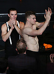 Sean Patrick Higgins and Jonno Davies during the Opening Night Curtain Call bows for 'A Clockwork Orange'  at the New World Stages on September 25, 2017 in New York City.