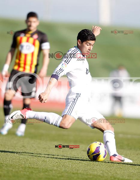 Real Madrid Castilla's Juanfran Moreno during La Liga match. January 13, 2013. (ALTERPHOTOS/Alvaro Hernandez)