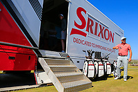 Graeme McDowell making his way to the srixon truck to try and get some clubs after Air France lost his clubs on his way from Paris to Manchester ahead of the Dubai Duty Free Irish Open, Ballyliffin Golf Club, Ballyliffin, Co Donegal, Ireland.<br /> Picture: Golffile | Fran Caffrey<br /> <br /> <br /> All photo usage must carry mandatory copyright credit (&copy; Golffile | Fran Caffrey)