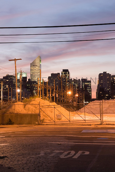 Midtown Manhattan at Dusk Viewed from Industrial Neighborhood in Long Island City, Queens, New York City, New York State, USA