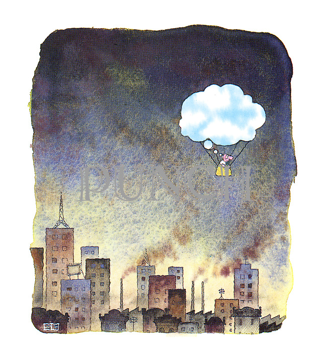 (A man floats in the air above a polluted city)