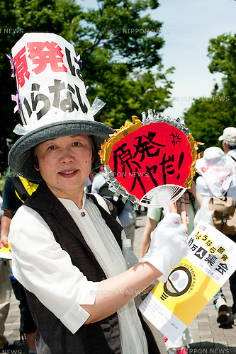 July 16th, 2012 : Tokyo, Japan - One hundred thousand people rallied during the anti-nuclear protest on July 16th, 2012. (Photo by Yumeto Yamazaki/AFLO)
