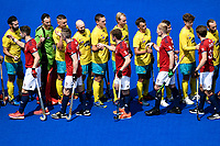 2nd February 2020; Sydney Olympic Park, Sydney, New South Wales, Australia; International FIH Field Hockey, Australia versus Great Britain; the teams shake hands before the match