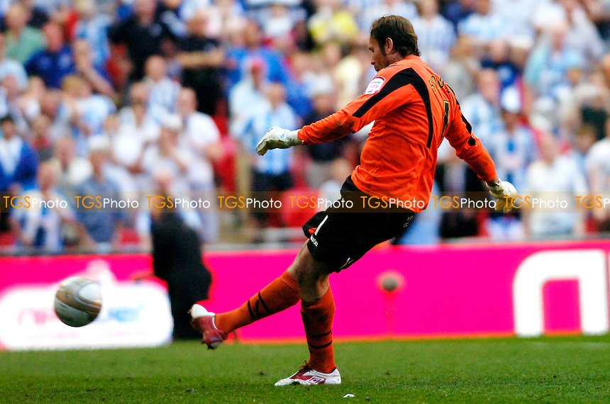 Sheffield United keeper Steve Simonsen takes their final penalty and misses, giving the promotion to Town - Huddersfield Town vs Sheffield United - nPower League One Promotion Play-Off Final at Wembley Stadium, London - 26/05/12 - MANDATORY CREDIT: Anne-Marie Sanderson/TGSPHOTO - Self billing applies where appropriate - 0845 094 6026 - contact@tgsphoto.co.uk - NO UNPAID USE.