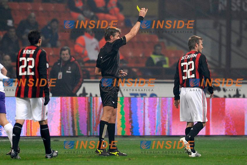 Referee Rosetti shows a yellow card to David Beckham (Milan)<br /> L'ammonizione di David Beckham<br /> Milano 17/1/2009 Stadio &quot;Giuseppe Meazza&quot; <br /> Campionato Italiano Serie A 2008/2009<br /> Milan Fiorentina (1-0)<br /> Foto Andrea Staccioli Insidefoto