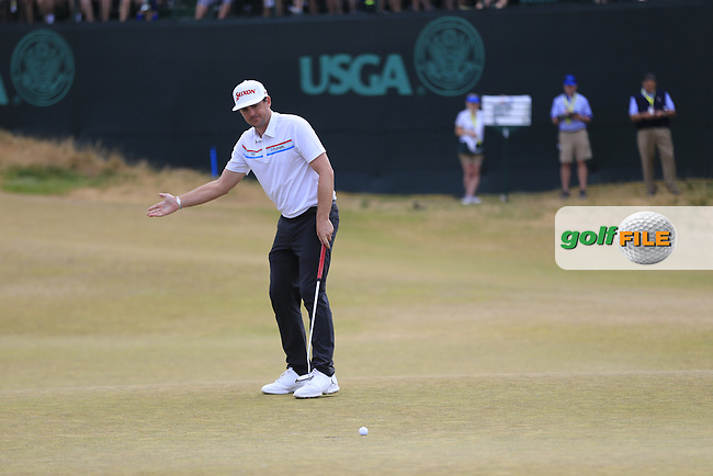 Keegan Bradley (USA) misses his putt on the 17th green during Thursday's Round 1 of the 2015 U.S. Open 115th National Championship held at Chambers Bay, Seattle, Washington, USA. 6/18/2015.<br /> Picture: Golffile | Eoin Clarke<br /> <br /> <br /> <br /> <br /> All photo usage must carry mandatory copyright credit (&copy; Golffile | Eoin Clarke)