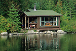 Cabin on the shore of Daicey Pond, Baxter State Park, Maine, USA. Cabin has been demolished and a new one built back away from the shore.