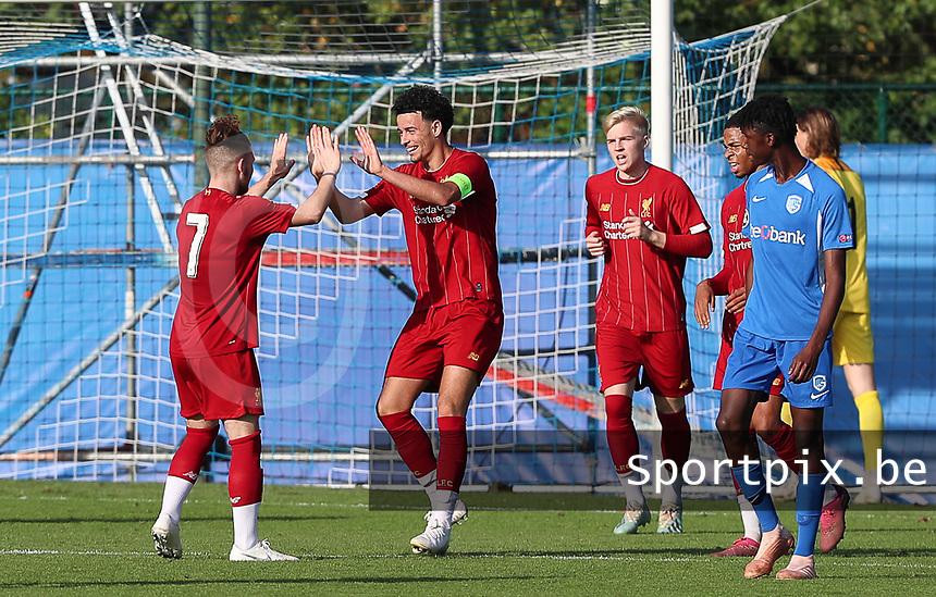 20191023 - Genk: Liverpool's captain Curtis Jones is celebrating his goal with  Harvey Elliott (7) during the UEFA Youth League group stages match between KRC Genk Youth and Liverpool FC on October 23, 2019 at KRC Genk Stadium Arena B, Genk, Belgium. PHOTO:  SPORTPIX.BE   SEVIL OKTEM