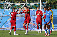 20191023 - Genk: Liverpool's captain Curtis Jones is celebrating his goal with  Harvey Elliott (7) during the UEFA Youth League group stages match between KRC Genk Youth and Liverpool FC on October 23, 2019 at KRC Genk Stadium Arena B, Genk, Belgium. PHOTO:  SPORTPIX.BE | SEVIL OKTEM
