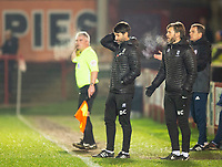 Lincoln City manager Danny Cowley, left, and Nicky Cowley in their technical area<br /> <br /> Photographer Andrew Vaughan/CameraSport<br /> <br /> The EFL Checkatrade Trophy Second Round - Accrington Stanley v Lincoln City - Crown Ground - Accrington<br />  <br /> World Copyright &copy; 2018 CameraSport. All rights reserved. 43 Linden Ave. Countesthorpe. Leicester. England. LE8 5PG - Tel: +44 (0) 116 277 4147 - admin@camerasport.com - www.camerasport.com