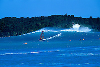 Windsurfing on a beautiful blue wave at La Perouse Bay on Maui.