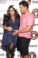 New York Times best selling author Nicole 'Snooki' Polizzi pictured with fiance Jionni LaValle at her 'Gorilla Beach' book tour at the Grand Opening of the new Earl of Sandwich location at Showboat Casino in Atlantic City, New Jersey on July 25, 2012 &copy; Star Shooter / MediaPunch Inc. /NortePhoto.com<br />