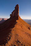 """""""The Rectory"""" sandstone formation stands above Castle Valley near Moab, Utah."""