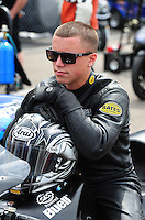 Mar. 9, 2012; Gainesville, FL, USA; NHRA pro stock motorcycle rider Joey Gladstone during qualifying for the Gatornationals at Auto Plus Raceway at Gainesville. Mandatory Credit: Mark J. Rebilas-