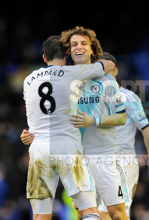 Frank Lampard of Chelsea celebrates the win with David Luiz of Chelsea - Barclays Premier League - Everton vs Chelsea - Goodison Park Stadium - Liverpool - 30/12/12 - Picture Simon Bellis/Sportimage