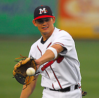 Infield prospect Brent Lillibridge of the Mississippi Braves, the Atlanta Braves' Class AA affiliate of the Southern League, in a game against the Birmingham Barons April 23, 2007, at Trustmark Park in Pearl, Miss. Photo by:  Tom Priddy/Four Seam Images