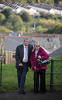 Pictured: Members of public gather to see Prince Charles at the Memorial Garden in Aberfan Friday 21 October 2016<br />
