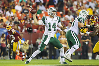 Landover, MD - August 16, 2018: New York Jets quarterback Sam Darnold (14) throws a pass during the preseason game between New York Jets and Washington Redskins at FedEx Field in Landover, MD.   (Photo by Elliott Brown/Media Images International)