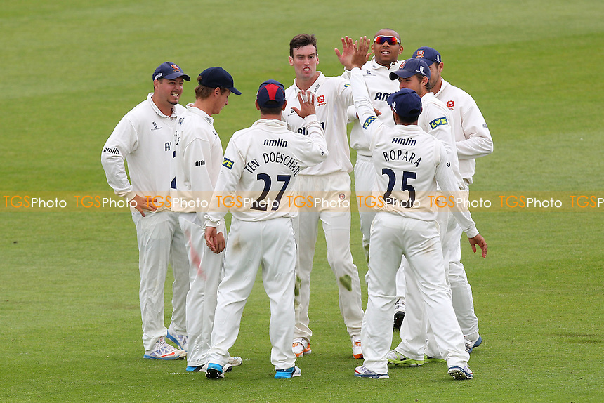 Reece Topley of Essex (C) celebrates the wicket of Will Smith - Hampshire CCC vs Essex CCC - LV County Championship Division Two Cricket at the Ageas Bowl, West End, Southampton - 15/06/14 - MANDATORY CREDIT: Gavin Ellis/TGSPHOTO - Self billing applies where appropriate - 0845 094 6026 - contact@tgsphoto.co.uk - NO UNPAID USE