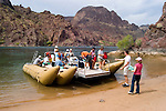 Rafting, no model release, on the Colorado River below Hoover Dam on border of Arizona, AZ, Nevada, NV, tourism, vacation, sports, Beach, sky, water, mountain, landscape, image nv432-18483.Photo copyright: Lee Foster, www.fostertravel.com, lee@fostertravel.com, 510-549-2202