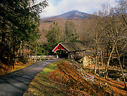 Flume Covered Bridge with Mount Liberty in the background. Located in Lincoln, New Hampshire.