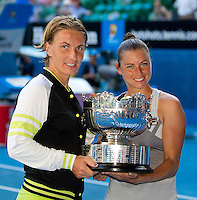 SVETLANA KUZNETSOVA (RUS) and VERA ZVONEREVA (RUS) against SARA ERRANI (ITA) and ROBERTA VINCI (ITA) in the Final of the Women's DOubles. Kuznetsova & Zvonereva beat Errani & Vinci 5-7 6-4 6-3..27/01/2012, 27th January 2012, 27.01.2012 - Day 12..The Australian Open, Melbourne Park, Melbourne,Victoria, Australia.@AMN IMAGES, Frey, Advantage Media Network, 30, Cleveland Street, London, W1T 4JD .Tel - +44 208 947 0100..email - mfrey@advantagemedianet.com..www.amnimages.photoshelter.com.