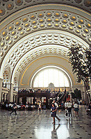 Washington D.C. : Union Station, Interior. All original fabrics restored to Interior Dept. standards. Now half train station, half specialty shopping mall. Photo '91.