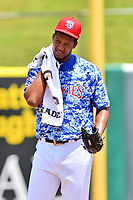 Tennessee Smokies starting pitcher Oscar De La Cruz (37) before a game against the Mississippi Braves at Smokies Stadium on May 20, 2018 in Kodak, Tennessee. The Braves defeated the Smokies 7-4. (Tony Farlow/Four Seam Images)