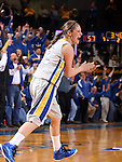 BROOKINGS, SD - MARCH 27:  Tara Heiser #12 from South Dakota State University reacts after knocking down a three pointer late in the game against the University of Minnesota in their sweet sixteen gameThursday night at Frost Arena in Brookings. (Photo by Dave Eggen/Inertia)
